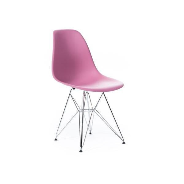 Pink Eames DSR Chair with chrome base
