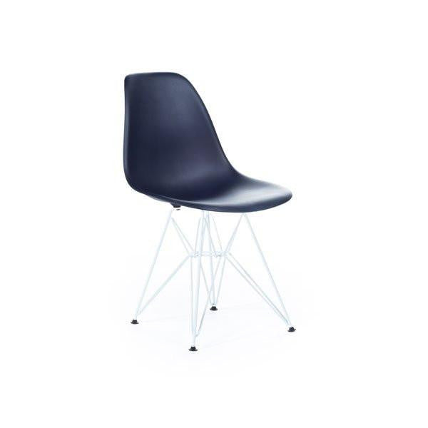 Dark Blue Eames DSR Chair with white base
