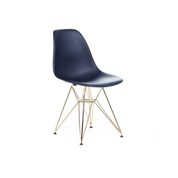 Dark Blue Eames DSR Chair with gold base
