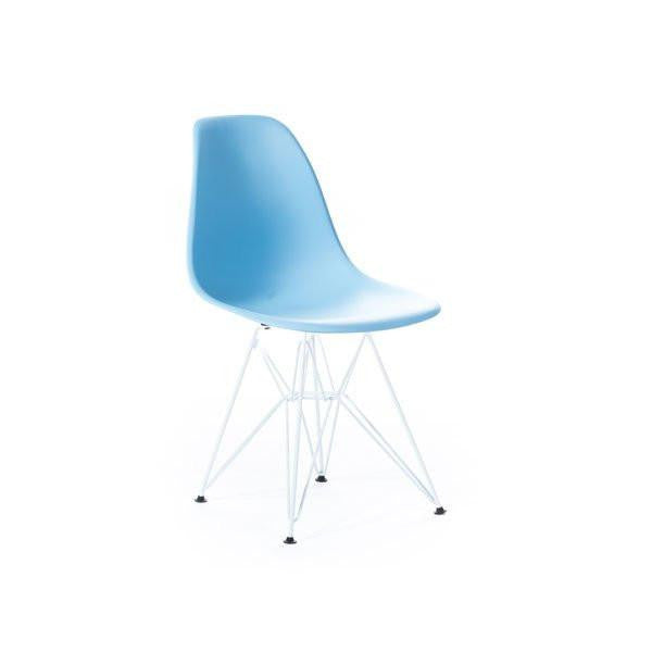 Baby Blue Eames DSR Chair with white base