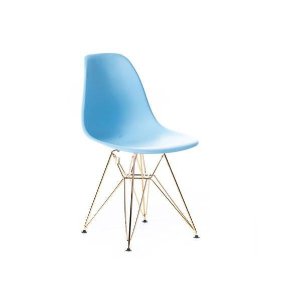 Baby Blue Eames DSR Chair with gold base