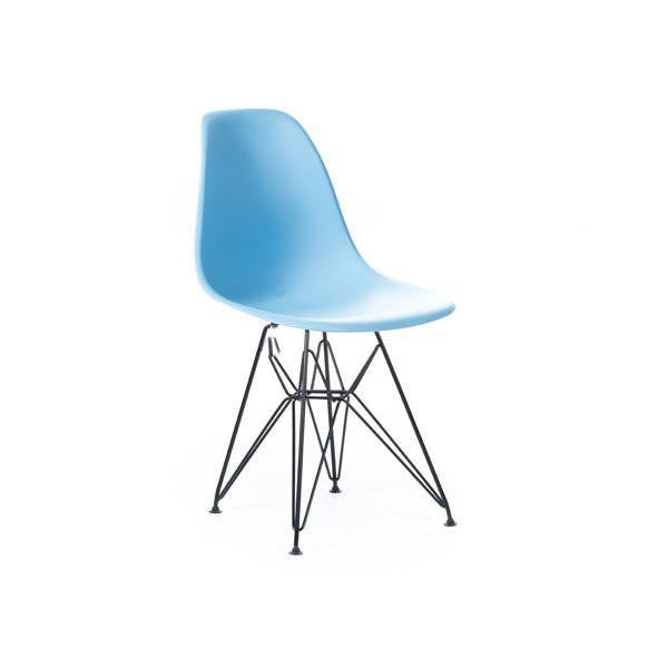 Baby Blue Eames DSR Chair with black base
