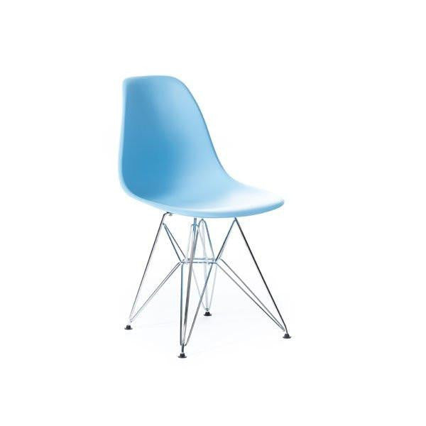 Baby Blue Eames DSR Chair with chrome base