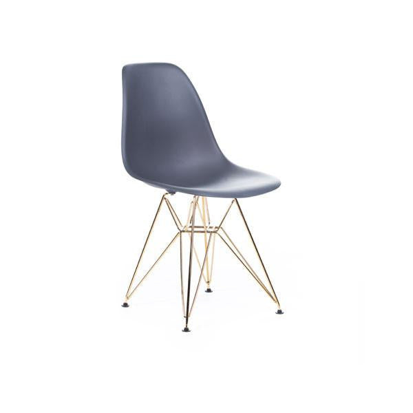 Grey Eames DSR Chair with gold base