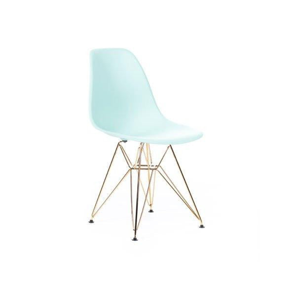 Light Turquoise Eames DSR Chair with gold base