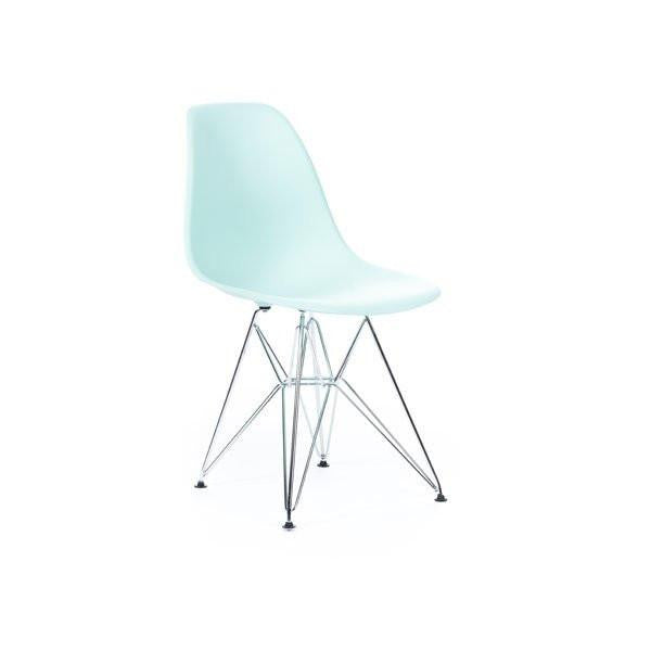 Light Turquoise Eames DSR Chair with chrome base