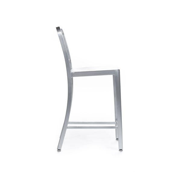 Navy Counter Stool brushed aluminium