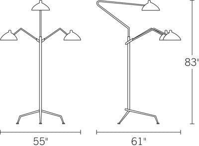 Serge Mouille Three-Arm Floor Lamp measurements