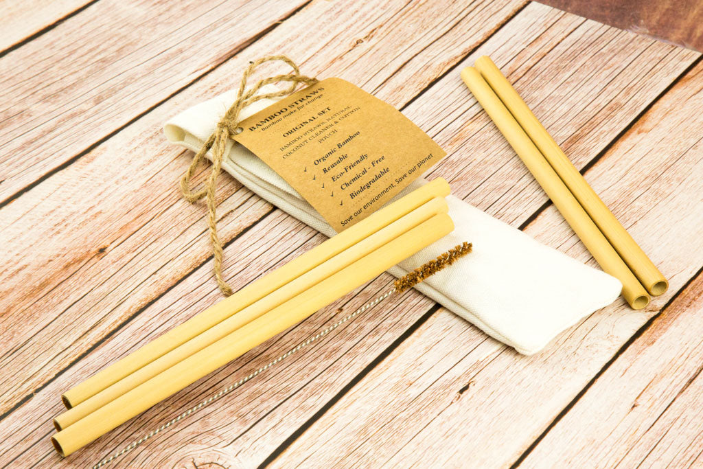 Reusable Straw - Bamboo Straw | Pack 6 ( With Natural Coconut Brush) - bamboo straws