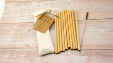 Load image into Gallery viewer, Reusable Straw - Bamboo Straw | Pack 10 ( With Natural Coconut Brush) - bamboo straws
