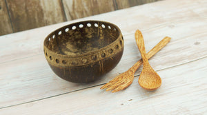Natural Coconut Shell Bowl 21 - bamboo straws