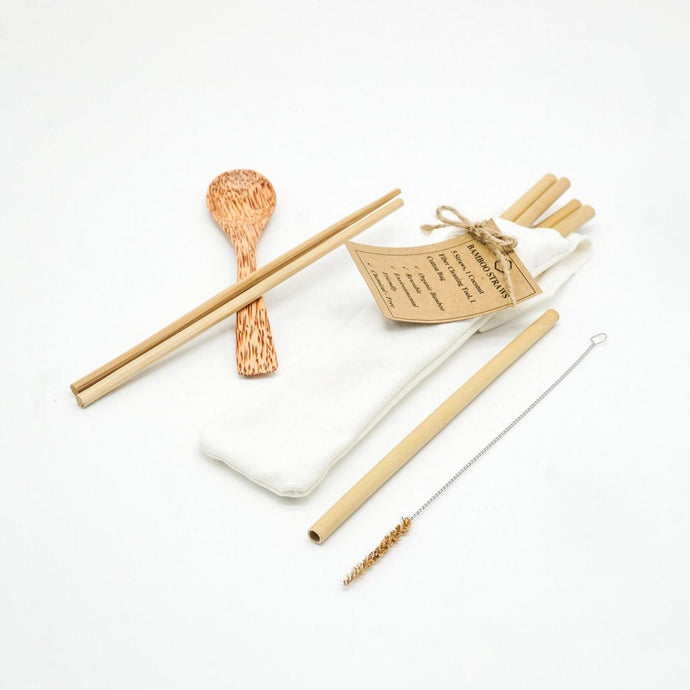 Self Bamboo Cutlery Set - bamboo straws