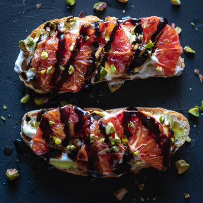 Blood Orange & Greek Yogurt Bruschetta