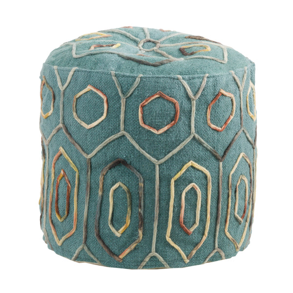 Kaia Teal Wool Embroidered Pouf - Le Pouf