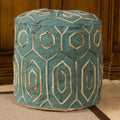 Kaia Teal Wool Embroidered Pouf