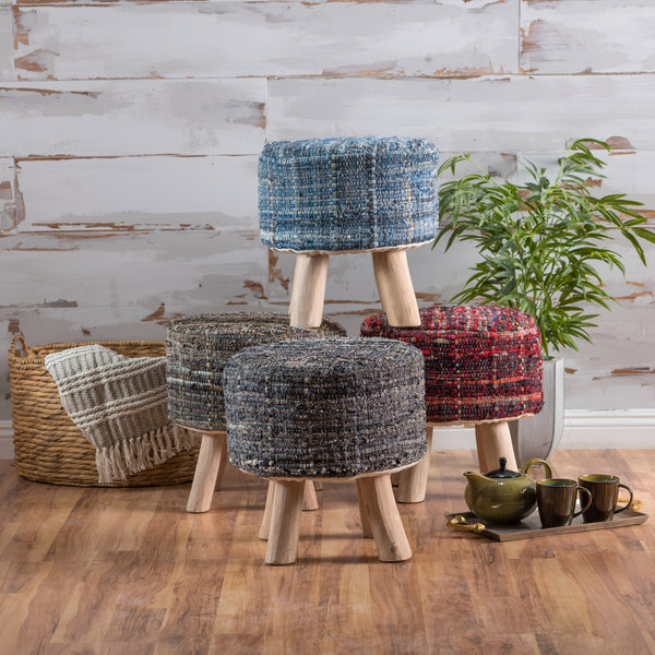 Harris Fabric Round Stool