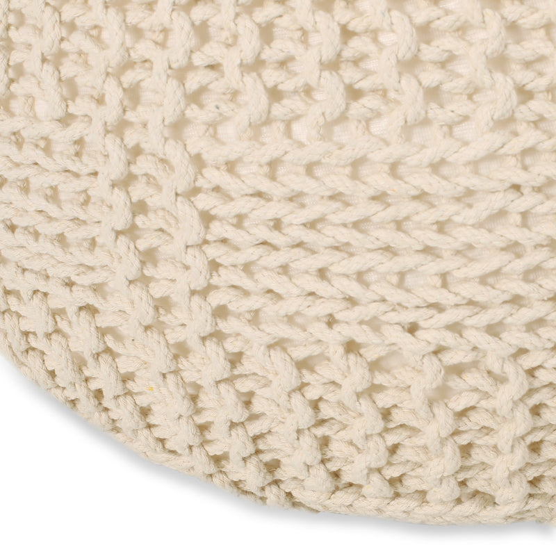Sardis Modern Knitted Cotton Round Pouf