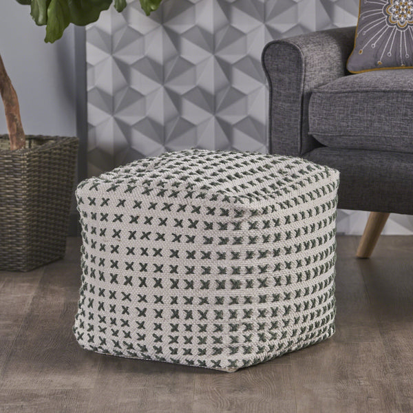 Fendi Green and Cream Fabric Square Pouf Ottoman