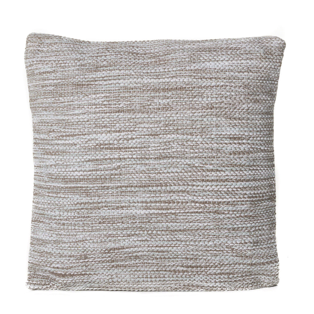 Alena Steel, Taupe, and White Cotton Pillow