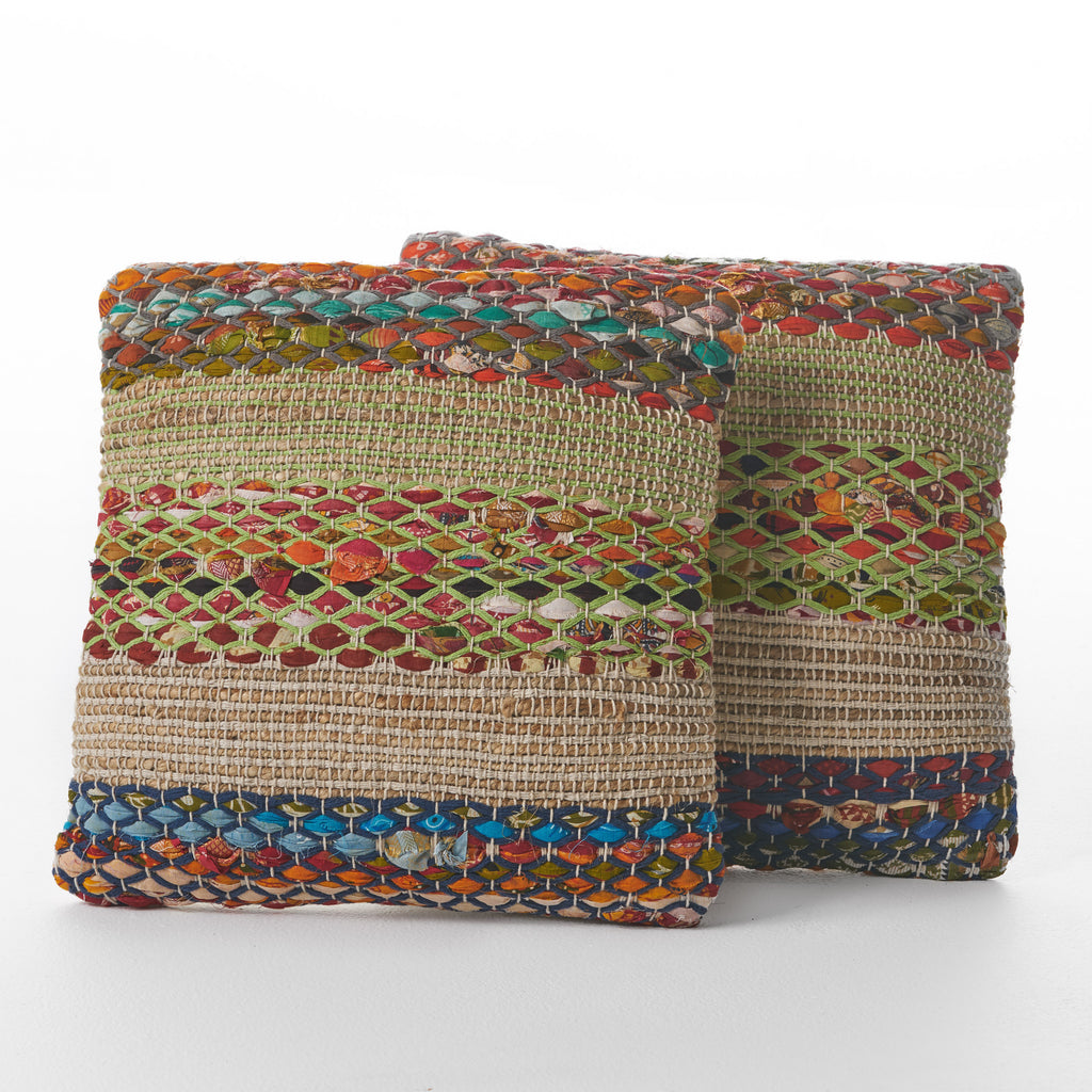 Layson Multi Colored Recycled Cotton Pillows (Set of 2)