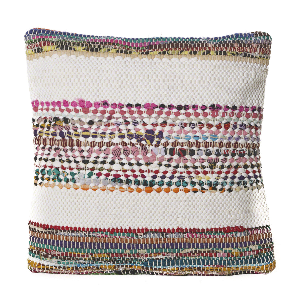 Dover Multi Cotton Chindi and Recyled Cotton Fabric Pillow