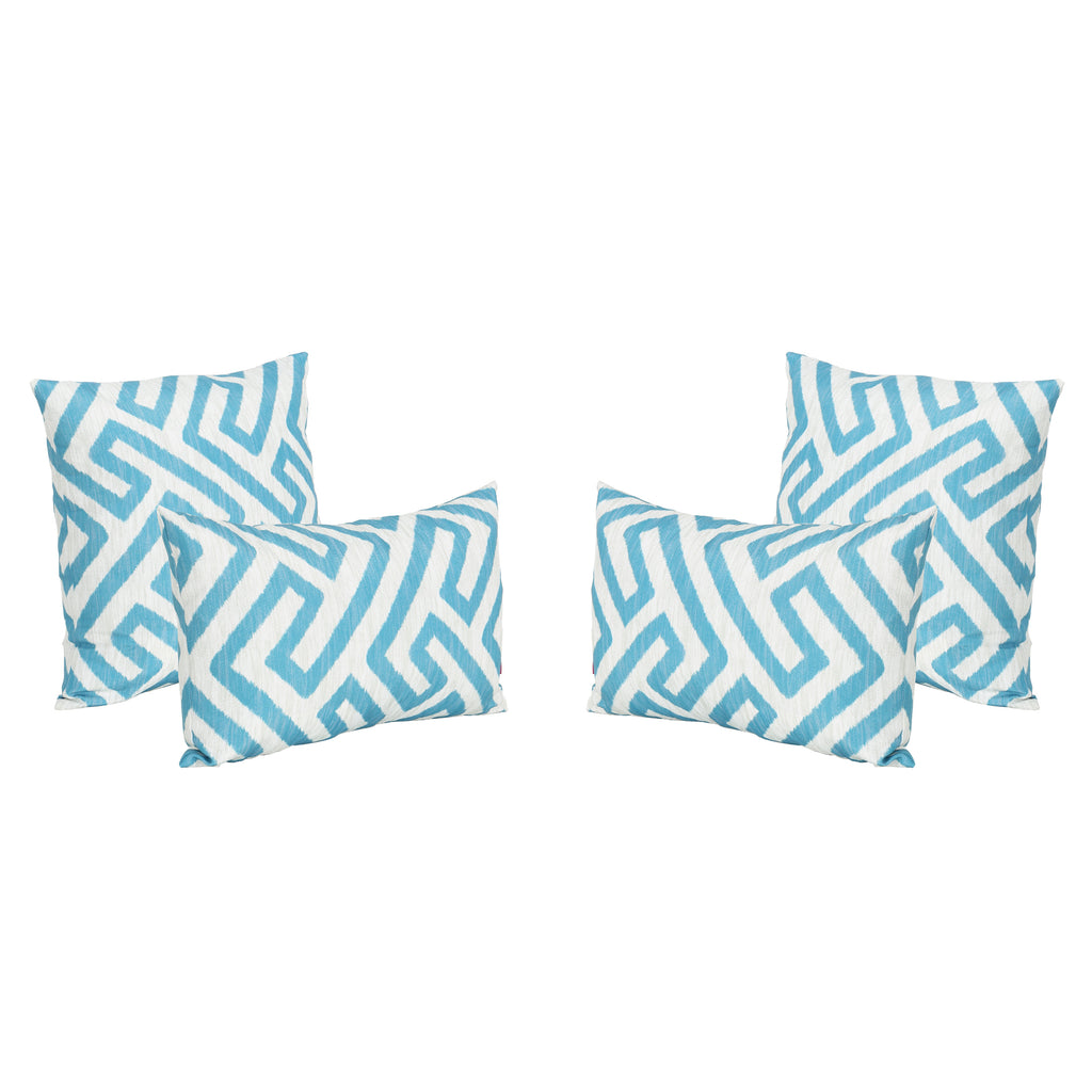 Realm Outdoor Water Resistant Tasseled Square and Rectangular Throw Pillows (Set of 4)