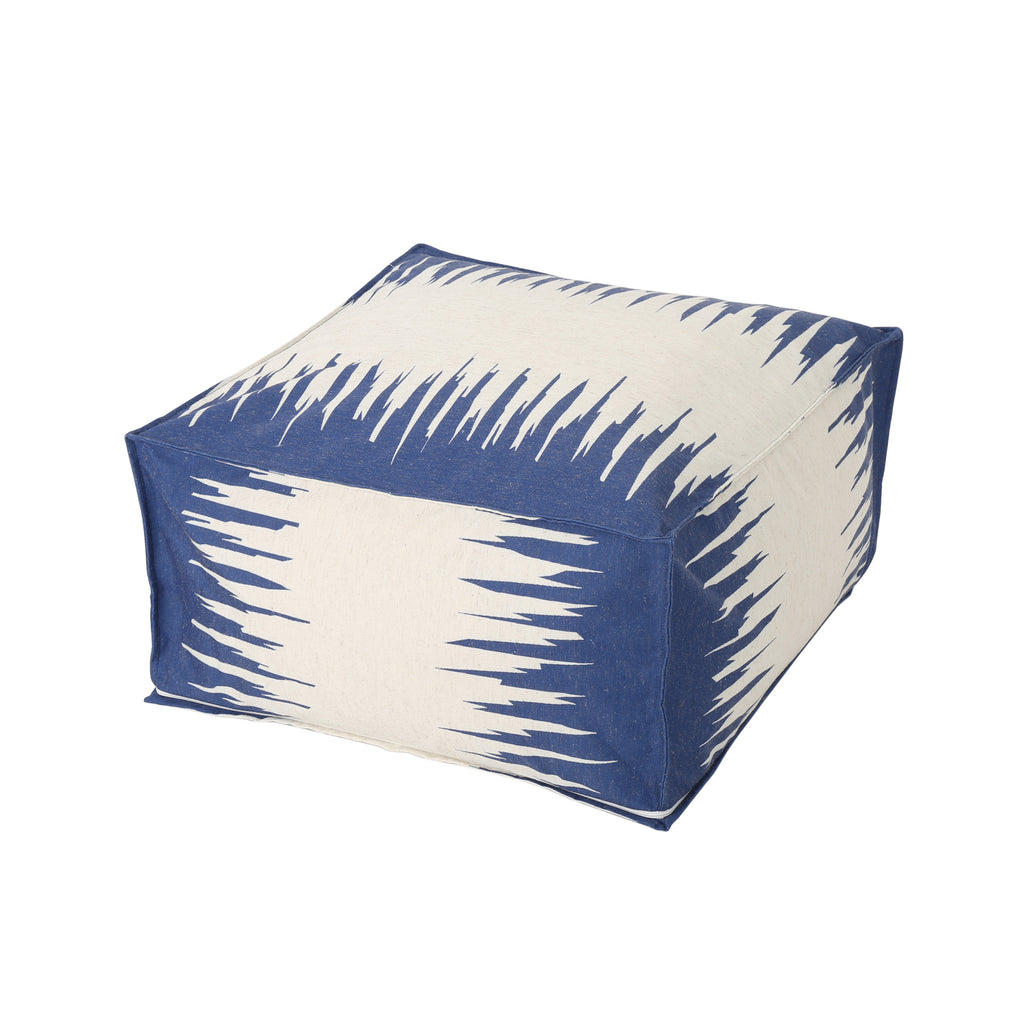 Flavia Dark Blue Fabric Square Bean Bag Ottoman