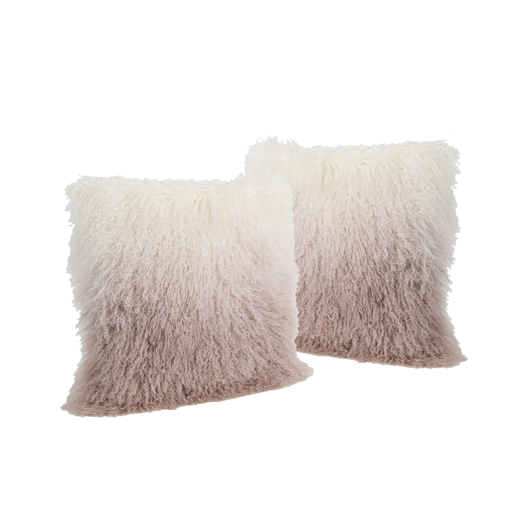 Marybelle Shaggy Lamb Fur Square Pillows (Set of 2)