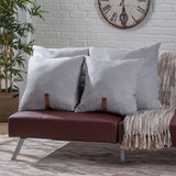 "Anna Contemporary 25"" and 20"" Square Fabric Pillows with Faux Leather Strap (Set of 4)"