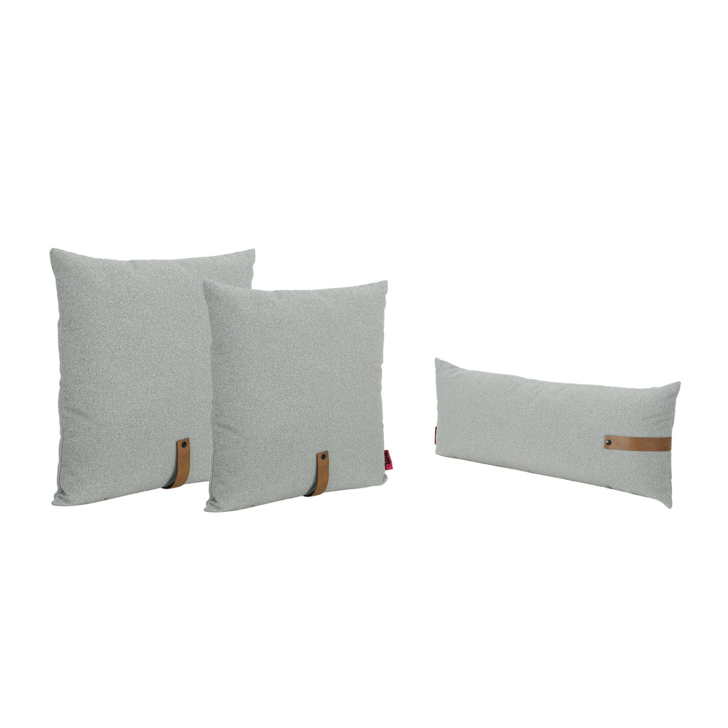 Anna Contemporary Square and Rectangular Fabric Pillow Set with Faux Leather Strap