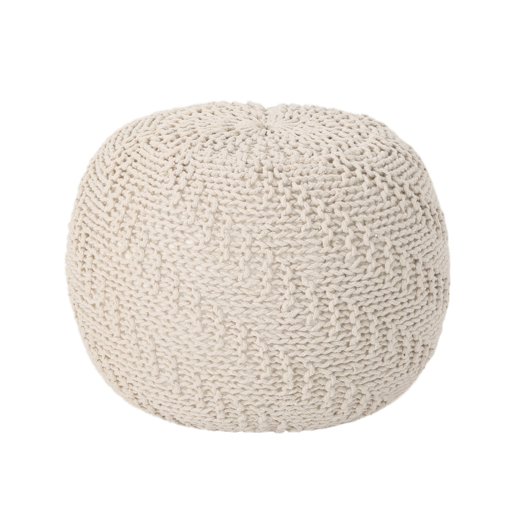 Hershel Knitted Cotton Pouf