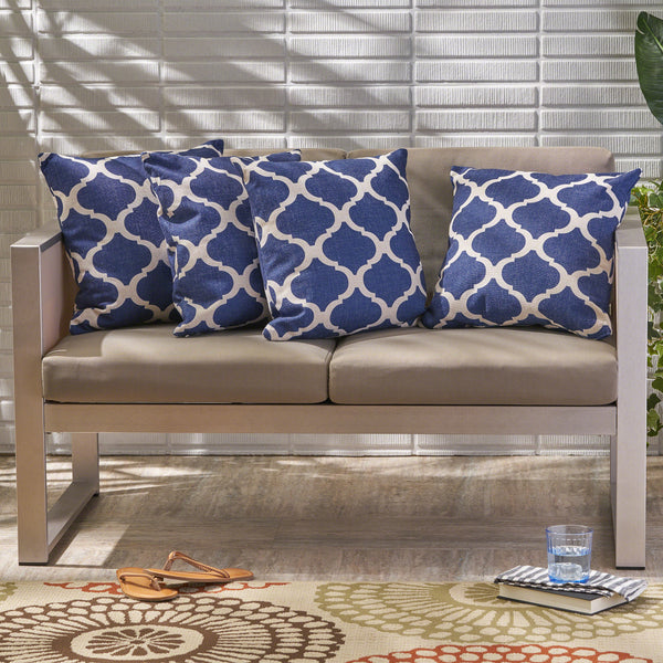 "Amelia Outdoor 18"" Water Resistant Square Pillows (Set of 4)"