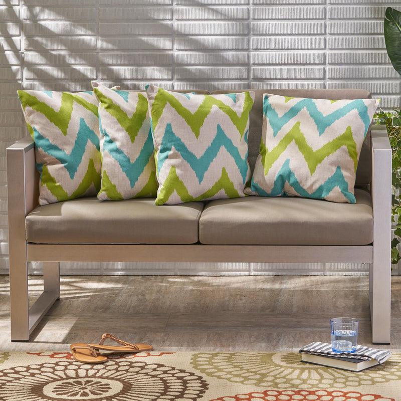 "Zora Outdoor 18"" Water Resistant Square Pillows (Set of 4)"