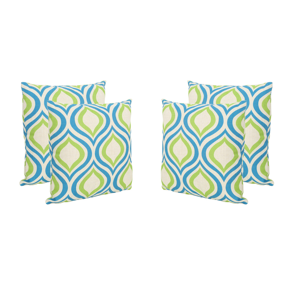 "Larissa Outdoor 18"" Water Resistant Square Pillows (Set of 4)"