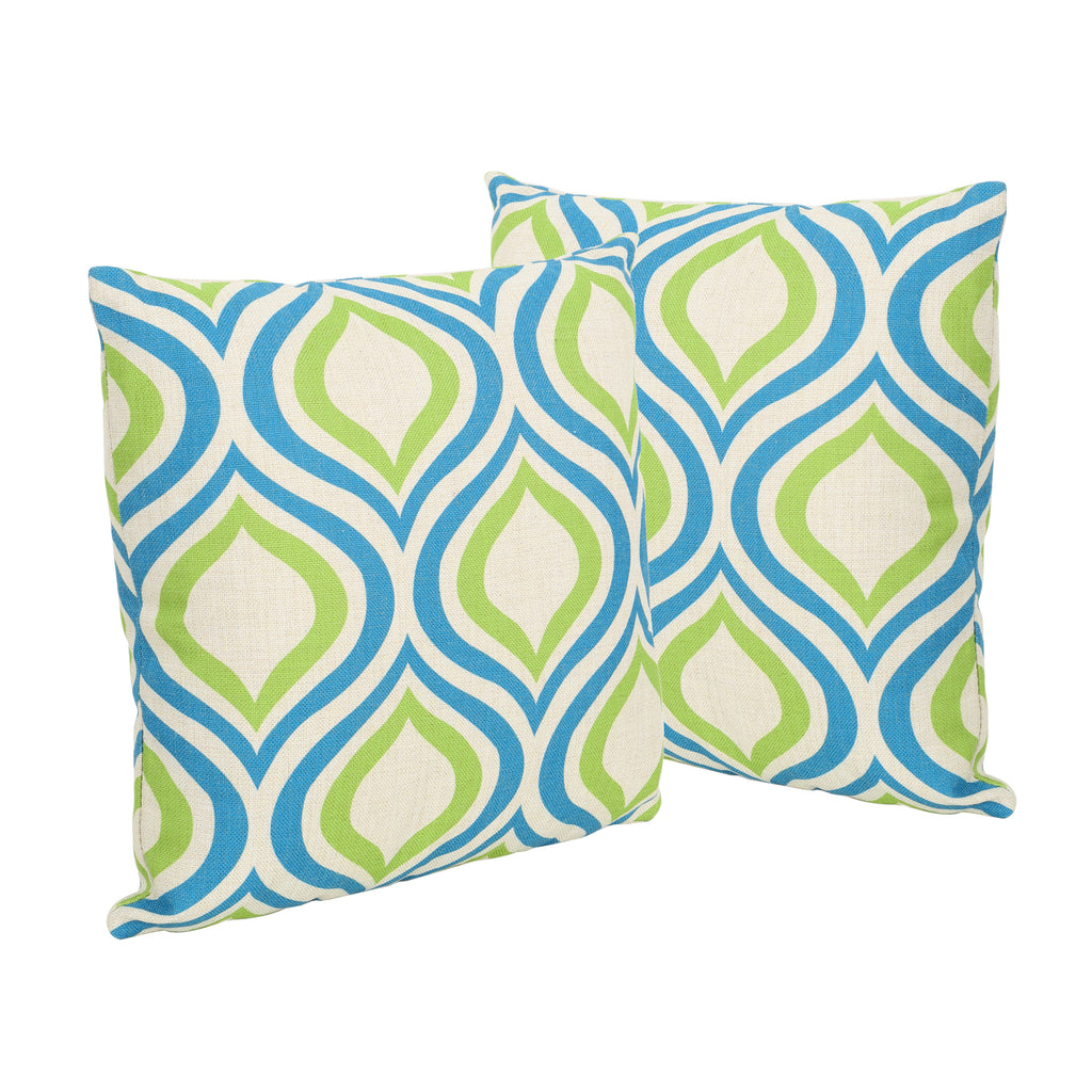 "Larissa Outdoor 18"" Water Resistant Square Pillows (Set of 2)"
