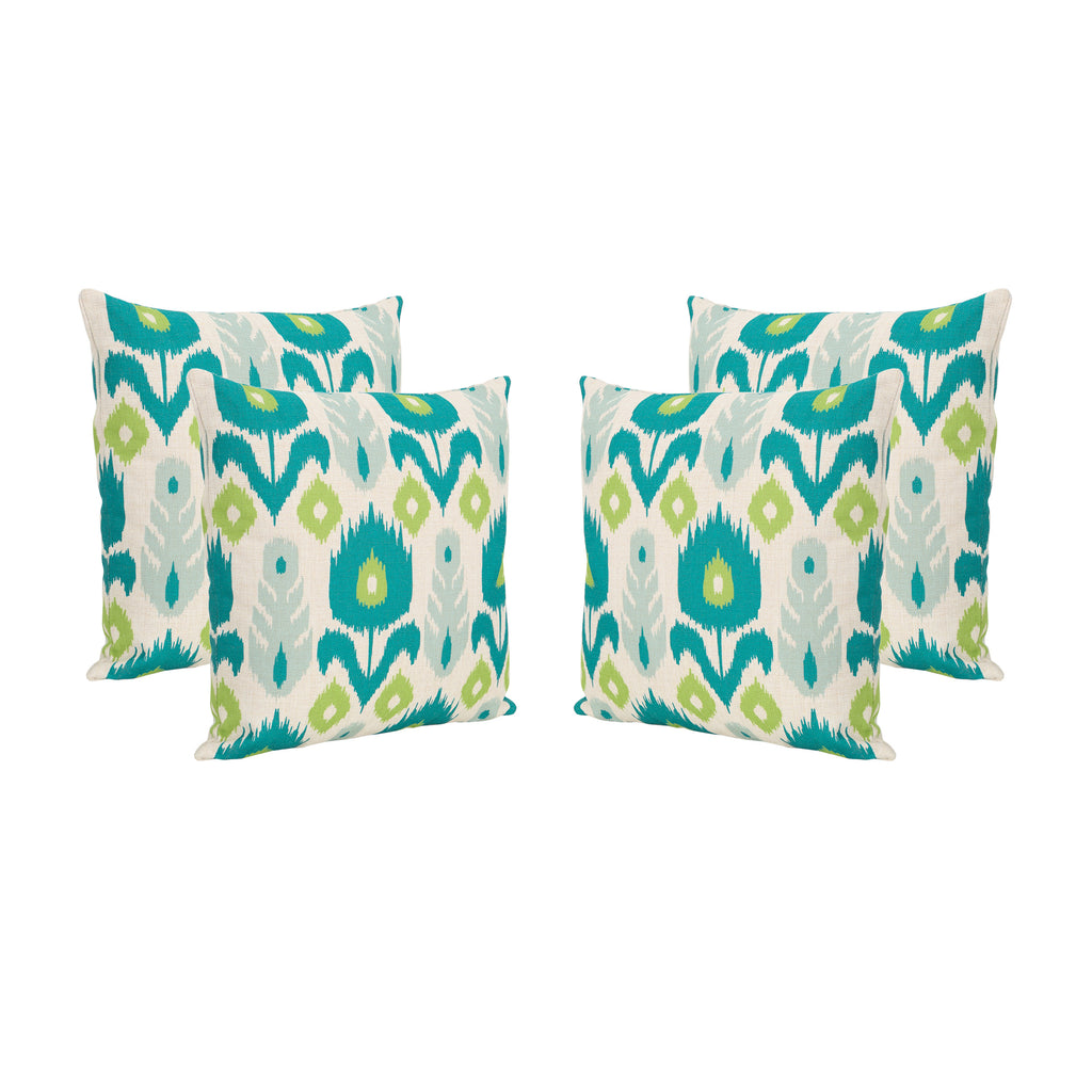 "Diego Outdoor 18"" Water Resistant Square Pillows (Set of 4)"