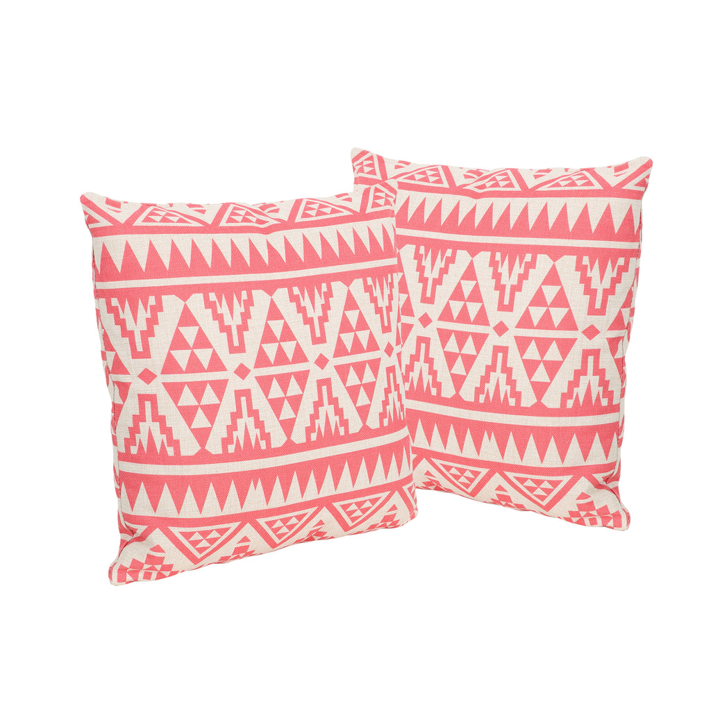 "Fred Outdoor 18"" Water Resistant Square Pillows (Set of 2)"