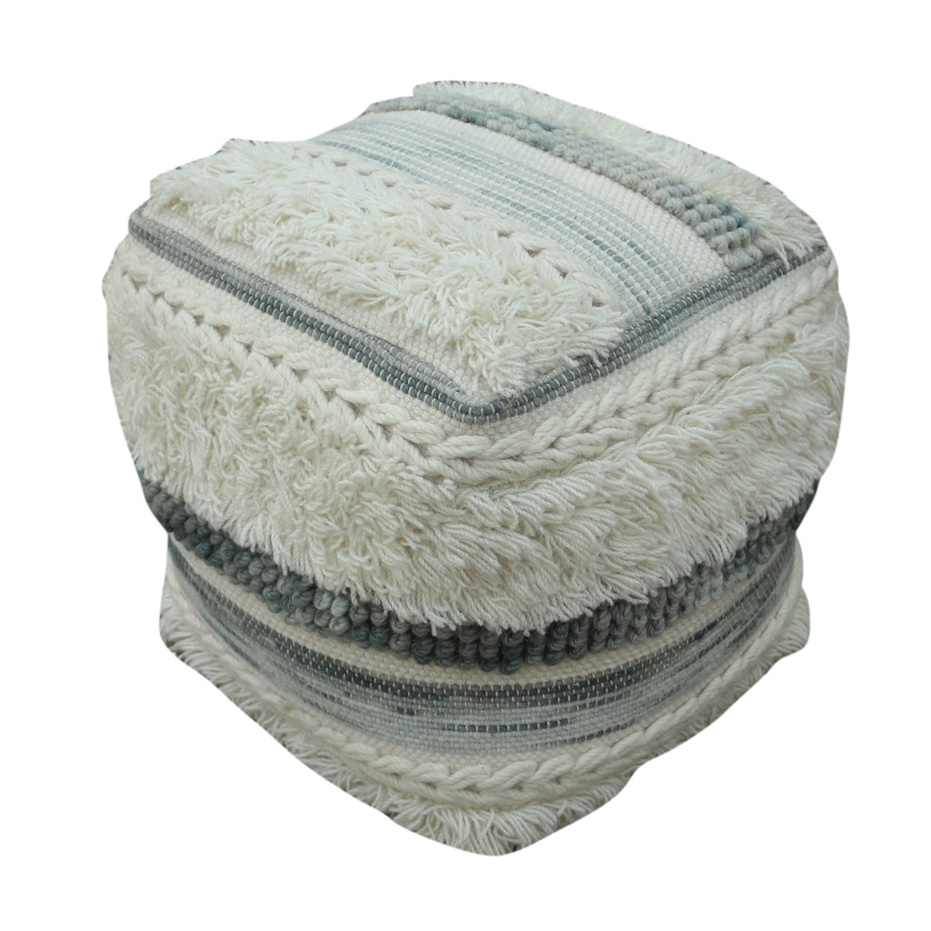 Curry Boho Wool Pouf