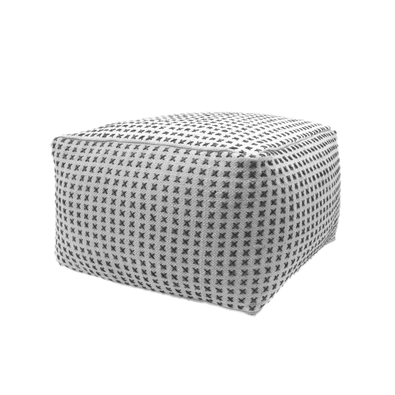 Breenda Large Square Cream and Green Yarn Modern Casual Pouf