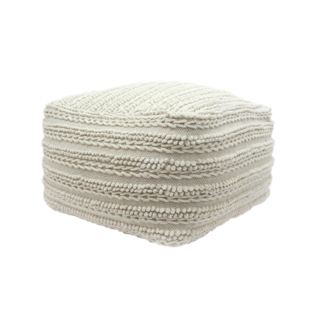 Marcia Large Square Wool and Cotton Modern Casual Pouf
