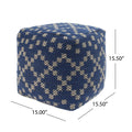 Alice Cube Pouf, Boho, Blue and White Yarn