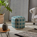 Mamie Cube Pouf, Boho, Beige and Teal Yarn