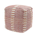 "Letitia Outdoor Boho Water Resistant 16"" Square Ottoman Pouf, Red and Orange"