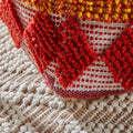 Xanthe Cube Pouf, Boho, Orange, Red, White Yarn