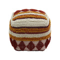 Annabelle Outdoor Cube Pouf, Boho, Orange, Red, White Yarn