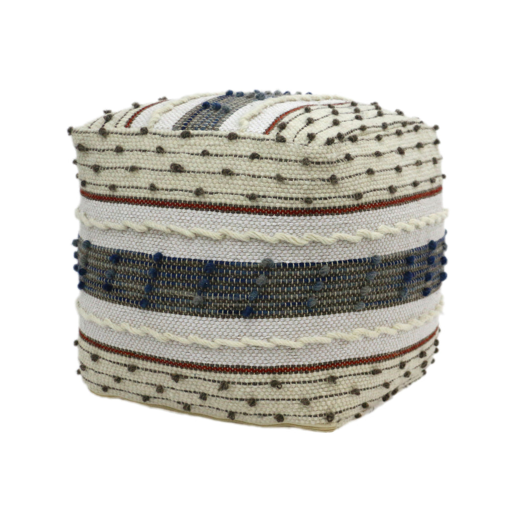 Riva Boho Wool and Cotton Ottoman Pouf, Blue, White, and Red