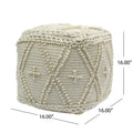Truda Cube Wool and Cotton Pouf