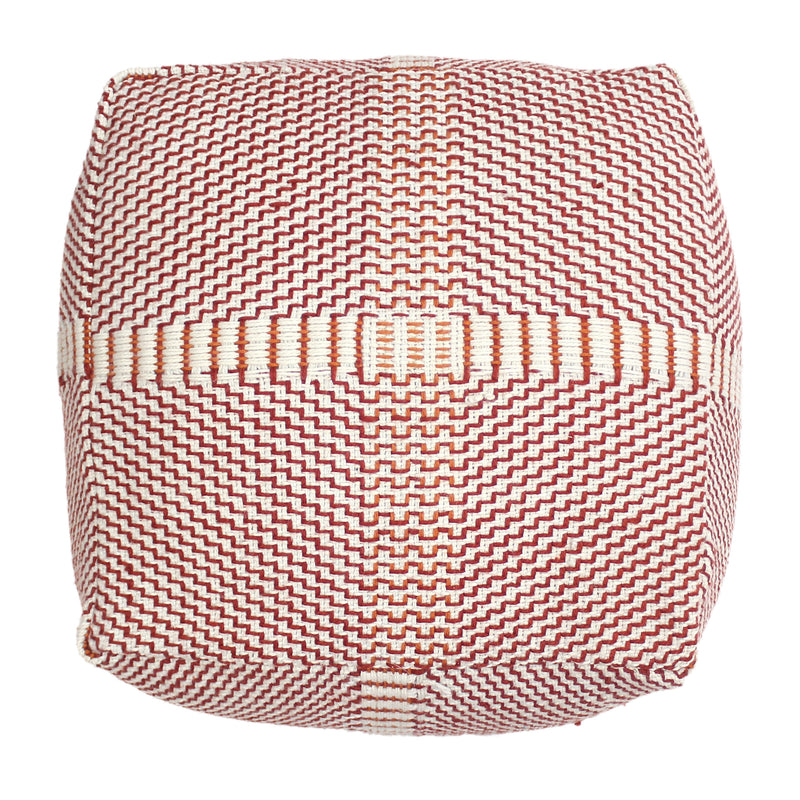 "Letitia Outdoor Boho Water Resistant 26"" Rectangular Ottoman Pouf, Red and Orange"