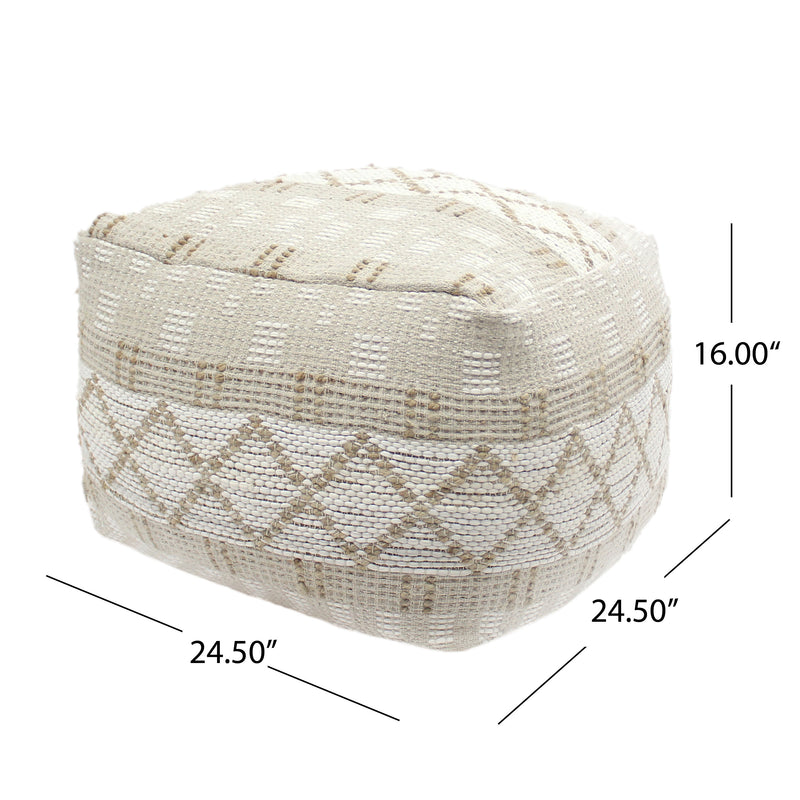 Mag Large Square Casual Chindi and Hemp Pouf