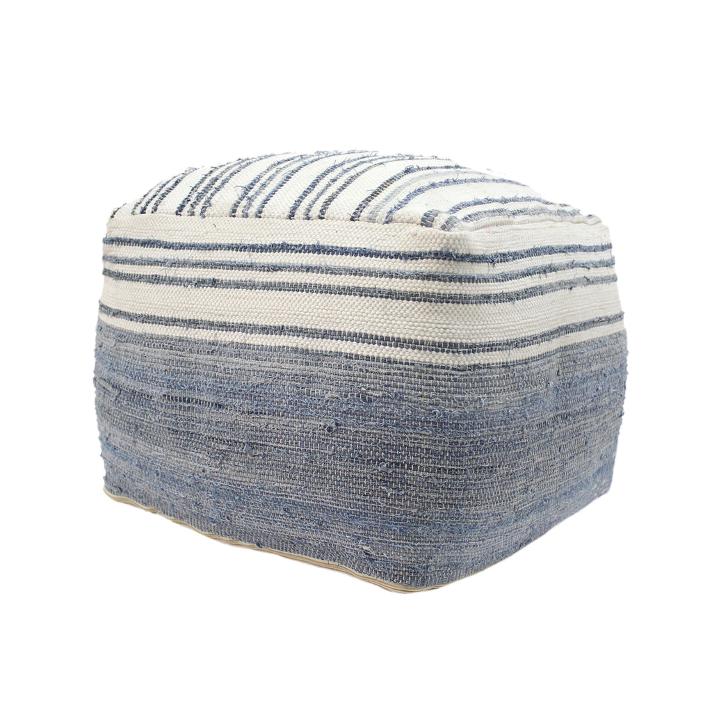 Althea Large Square Casual Recycled Denim and Chindi Pouf